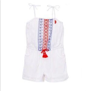 U.S Polo Assn. Girls White & Red Romper